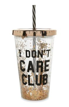 Primark - Gold Slogan Cup with Straw Drinking Water Bottle, Cute Water Bottles, Best Water Bottle, Drink Bottles, Copo Starbucks, Cute School Supplies, Cup With Straw, Cute Cups, Tumbler Cups