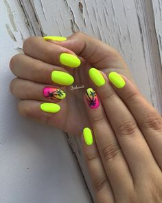 77 Bright Neon Nails to Try This Summer – neon nail art Neon Nail Colors, Neon Yellow Nails, Yellow Nails Design, Yellow Nail Art, Bright Summer Nails, Summer Acrylic Nails, Neon Nails, Cute Acrylic Nails, Cute Nails