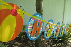 Pool Party Birthday Banner - MADE TO ORDER. $26.00, via Etsy.
