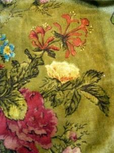 """ANTIQUE FRENCH FABRIC SILK VELVET FLORAL DECOR 26"""" x 30"""" 