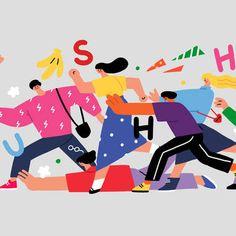 Illustration Art Drawing, People Illustration, Character Illustration, Graphic Design Illustration, Digital Illustration, School Murals, Rush Hour, Mural Art, Graphic Prints