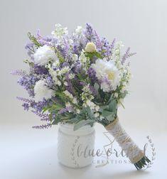 Wildflower Bridal Bouquet - Rustic Bouquet, Lavender Wildflower Bouquet, Shabby Chic Bouquet, Bridal Bouquet, Boho Bouquet by blueorchidcreations on Etsy