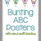 ABC Posters meet bunting meet chevron!  $ This pack contains ABC posters in manuscript as well as mini word wall headers.