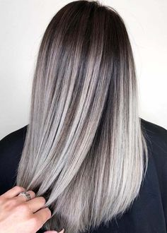Hair dyed ideas blonde color trends 30 Super Ideas - All For Hair Cutes Blonde Balayage Highlights, Hair Color Balayage, Blonde Color, Grey Blonde Hair, Bronde Hair Dark, Black Ash Hair, Hair Color Ash Grey, Grey Dyed Hair, Grey Ombre Hair