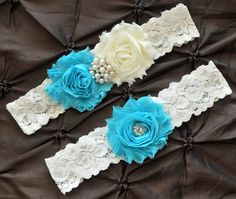 Wedding Garter, Bridal Garter Set, Something Blue Garter - Ivory Lace Garter, Keepsake Garter, Toss Garter, Shabby Chiffon Ivory Aqua Garter on Etsy, $23.27 CAD