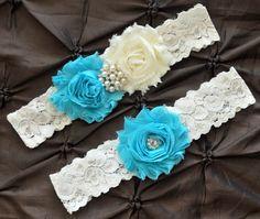 Wedding Garter, Bridal Garter Set, Something Blue Garter - Ivory Lace Garter, Keepsake Garter, Toss Garter, Shabby Chiffon Ivory Aqua Garter