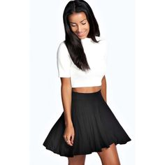 Boohoo Basics Selena Jersey Viscose Skater Skirt ($10) ❤ liked on Polyvore featuring skirts, black, jersey pencil skirt, skater skirt, pastel skater skirt, black knee length skirt and jersey skirt