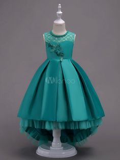 Flower Girl Dresses Ball Gowns Kids Pageant Dress Mint Green Lace Satin Princess Party Dresses Little Girls Kids Pageant Dresses, Kids Outfits Girls, Little Girl Dresses, Ball Dresses, Ball Gowns, Girl Outfits, Girls Dresses, Party Dresses, Girls Party Dress