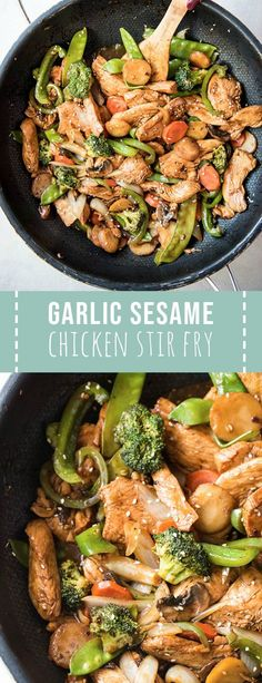 Garlic Sesame Chicken Stir Fry is an easy meal that's on the table in 30 minutes or less! It boasts an authentic Chinese stir-fry flavor and is packed with veggies. Skip take out to make this healthier stir fry at home. recipes for two recipes fry recipes Healthy Recipes, Asian Recipes, Cooking Recipes, Chinese Recipes, Chinese Food, Veggie Fries, Veggie Stir Fry, Garlic Chicken Stir Fry, Stir Fry Sesame Chicken
