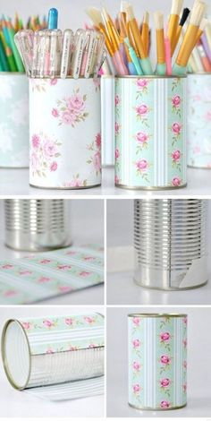 Pretty Pen Pot Storage Click Pic for 20 DIY Small Apartment Organization Ideas for the Home Easy Storage Ideas for Bedrooms Dollar Stores Small Apartment Organization, Craft Organization, Craft Storage, Organizing Ideas, Storage Hacks, Makeup Storage, Office Storage, Small Storage, Stationary Organization
