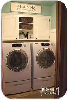 Nice way to use the over washer and dryer space... wish it had a usable counter though... Laundry Room Idea.  Love the colors and the distressed white cabinet above.