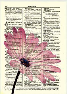 Pink Flower Dictionary Art Print Flower Art Dictionary Print Dictionary Page Wall Decor Mixed Media Collage 019 Collage Kunst, Collage Art, Book Page Art, Book Art, Art Pages, Daisy Art, Newspaper Art, Newspaper Painting, Dictionary Art