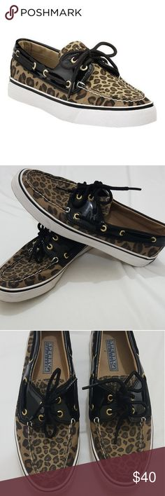 Leopard print top sider Sperrys. Size 7 Size 7 Cheetah, leopard print top sider sperrys. Not many signs of wear except on the bottom of the soles. Size 7 Sperry Top-Sider Shoes