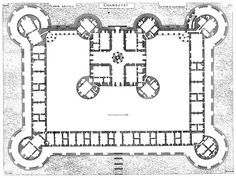 "03- Early Renaissance Chateaux- Plan of the Château de Chambord, 1519-1536, by Cortona, Loire valle. ""The internal layout is an early example of the French and Italian style of grouping rooms into self-contained suites, a departure from the medieval style of corridor rooms. The massive château is composed of a central keep with four immense bastion towers at the corners. The keep also forms part of the front wall of a larger compound with two more large towers."""