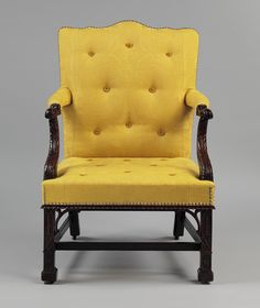 Armchair Maker:Attributed to Thomas Affleck Date:ca. 1766 Geography:Made in Philadelphia, Pennsylvania, United States Culture:American Medium:Mahogany, white oak Georgian Furniture, Antique Furniture, Colonial Furniture, Sunroom Furniture, Furniture Design, Furniture Chairs, Upholstered Furniture, Art Nouveau, Antique Dining Chairs