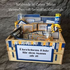 Stempelhex-mit-Farbenklex: Überlebens-Kiste für den Mann ab 40 gift for men Xmas Gifts, Diy Gifts, Great Gifts, Men Over 40, Mom Day, Best Dad, You Are The Father, Pin Collection, Boyfriend Gifts