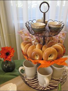 French Wire Tiered Stand with Al fesco Spice Cellars, mugs and bagels and voila!