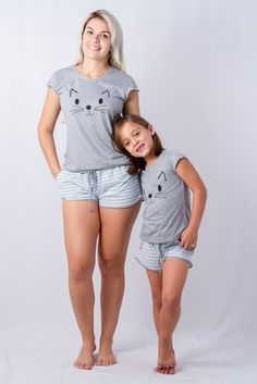 """Mommy and I like kitties. Mom And Baby Outfits, Kids Outfits, Cool Outfits, Mother Daughter Pictures, Mother Daughter Fashion, Casual Chic Outfits, Babydoll Lingerie, Lingerie Sleepwear, Pyjamas"