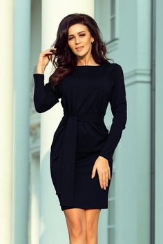 Dress with a wide tied belt - navy blue color Cod: Blue Colour Dress, Navy Blue Color, Day Dresses, Dresses For Work, Anna Dress, Navy Blue Dresses, Swing Dress, Women's Fashion Dresses, Clothes For Women