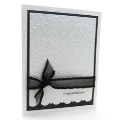 Wedding Card - Handmade - White Damask, change the black to match the wedding colors.