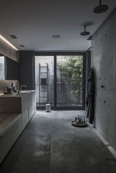 Check Out 41 Concrete Bathroom Design Ideas To Inspire You. Concrete is a super popular material due to its durability, modern look and budget-friendliness. Modern House Design, Modern Interior Design, Interior Architecture, Design Interiors, Modern Interiors, Scandinavian Architecture, Villa Design, Design Hotel, Concrete Interiors