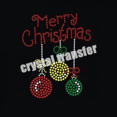 Rhinestone Merry Christmas Heat Transfers Wholesale