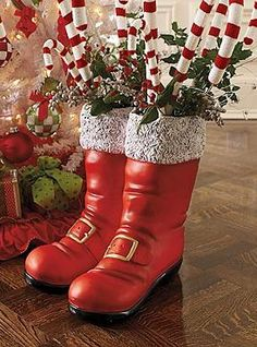 Fill The Oversized Santa Boots With Your Favorite Festive Foliage Or Set Out As Their Own