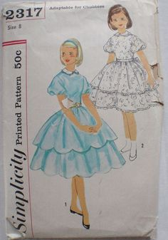 ©1957 Girl's Vintage Sewing Pattern - Dress With Detachable Collar and Confirmation Dress - Simplicity 2317 - Size 8, Breast 26