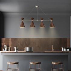 We're loving the midcentury modern style of this George Kovacs Conic linear pendant light! It would be a great way to light up a kitchen island or a long table. Linear Pendant Lighting, Modern Lighting, Lighting Ideas, Mid Century Modern Kitchen, Wall Lights, Ceiling Lights, Kitchen Lighting Fixtures, Cozy Place, Easy Projects