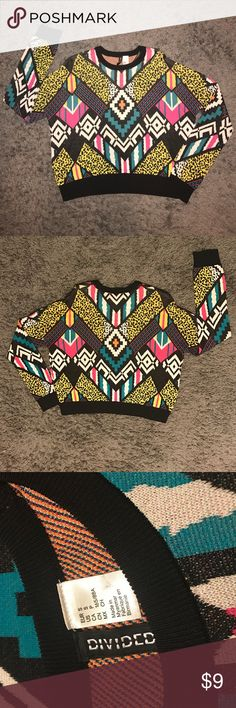 Super cute full of color Sweater! 🍭 H&M Multi-color fun sweater! Yellow, turquoise, pink, black and white. Medium weight. Great for the weekend! H&M Sweaters Crew & Scoop Necks