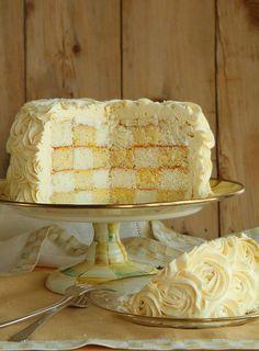 Rose Covered Checkerboard Cake! beautiful cake!