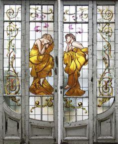 Antique Stained Glass Door
