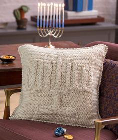 Menorah Pillow Free Crochet Pattern from Red Heart Yarns