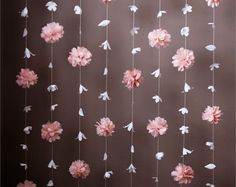 This is gorgeous display features a combination of the Anthropologie- inspired paper flower garland and the tissue paper puff garland. Paper Flower Garlands, Tissue Paper Flowers, Flower Backdrop, Backdrop Wedding, Tissue Paper Decorations, Hanging Flowers, Flower Curtain, Paper Flower Wall, Floral Garland