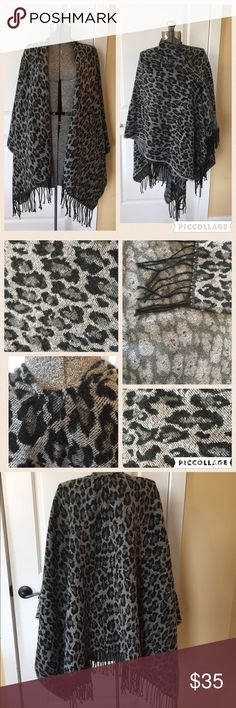 FREE GIFT W/PURCHASE Black/gray animal print cape. Black and gray cape 💙 like new 💛 PLUS FREE SURPRISE GIFT WITH PURCHASE AND 30% OFF BUNDLES Jackets & Coats Capes