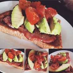 | BRUNCH | #Bacon, #Avocado & Cherry #Tomatoes on a #Toasted Wholemeal #Bread. A dash of #OliveOil and Black Pepper and WE GOOD♥️ Totes TASTY! 😋