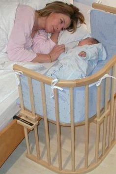Bedside Baby Crib. With breastfeeding and if you include a diaper you don't even have to get out of bed. Tired moms will appreciate this! And as baby grows so does the crib, by converting to a bench or a table and chair.