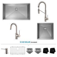 """Kraus KHU32-19-263000 Pax™ Kitchen Combo Featuring 32"""" Kitchen Sink 19"""" Bar Sin"""