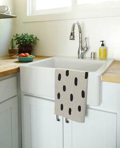 Black Brushstroke Tea Towel / Cotton & Flax