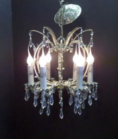 Small Antique White Six Light Crystal Chandelier Petite Crystal ...