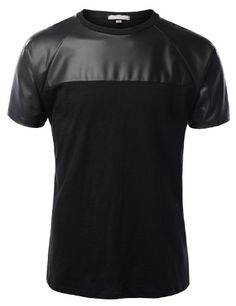 Black Friday LE3NO Mens Premium Edgy Faux Leather Slub Raglan Short Sleeve T Shirt from LE3NO Cyber Monday