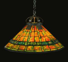 "TIFFANY STUDIOS  A RARE ""GEOMETRIC BANDED TURTLE-BACK"" CHANDELIER ca 1905"
