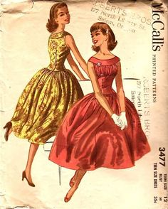 McCall's 3477; ©1955; Teen Size Dress Sleeveless dress with wide yoke collar, shirred bust, close-fitted bodice with dropped waist, gathered full skirt, side zipper.