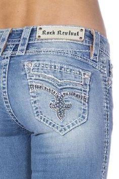 ROCK REVIVAL SIZE 32 AMRA BOOT CUT JEAN $159. #RockRevival #BootCut