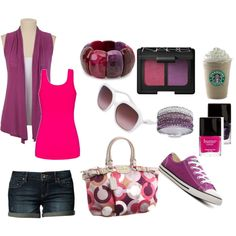 A fashion look from October 2012 featuring purple top, tee-shirt and blue jeans. Browse and shop related looks. Casual Day Outfits, Purple Outfits, Cute Outfits, Work Fashion, Fashion Looks, Her Style, Cool Style, Best Cardigans, Tank Top Outfits