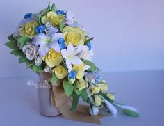 Cascading Bouquet With Lilies And Roses Yellow Blue Bridal Spring Wedding