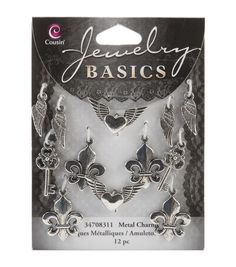 Jewelry Basics Metal Charms-Silver Mixed Shape 12/Pkg