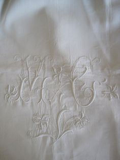 Antique French Fabulous Pure Linen Sheet, With Hand Embroidered MC Monogram by VintageFrenchFinds, $225.00