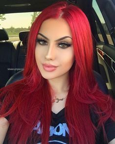 Black Ponytail Hairstyles, African Hairstyles, Wig Hairstyles, Bright Red Hair, Red Hair Color, Red Color, Magenta Red Hair, Red Ombre, Red Orange Hair