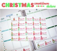 Christmas Stickers - fits Erin Condren Life Planner - plum paper - Christmas Countdown Stickers